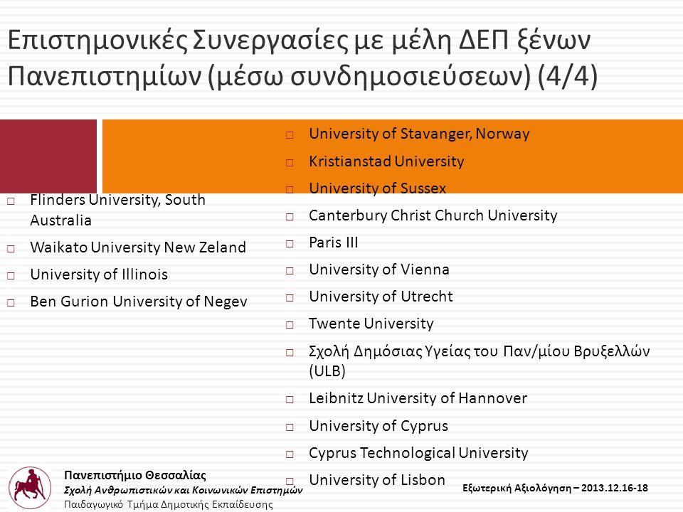 Πανεπιστήμιο Θεσσαλίας Σχολή Ανθρωπιστικών και Κοινωνικών Επιστημών Παιδαγωγικό Τμήμα Δημοτικής Εκπαίδευσης Εξωτερική Αξιολόγηση – 2013.12.16-18 Επιστημονικές Συνεργασίες με μέλη ΔΕΠ ξένων Πανεπιστημίων ( μέσω συνδημοσιεύσεων ) (4/4)  Flinders University, South Australia  Waikato University New Zeland  University of Illinois  Ben Gurion University of Negev  University of Stavanger, Norway  Kristianstad University  University of Sussex  Canterbury Christ Church University  Paris III  University of Vienna  University of Utrecht  Twente University  Σχολή Δημόσιας Υγείας του Παν/μίου Βρυξελλών (ULB)  Leibnitz University of Hannover  University of Cyprus  Cyprus Technological University  University of Lisbon