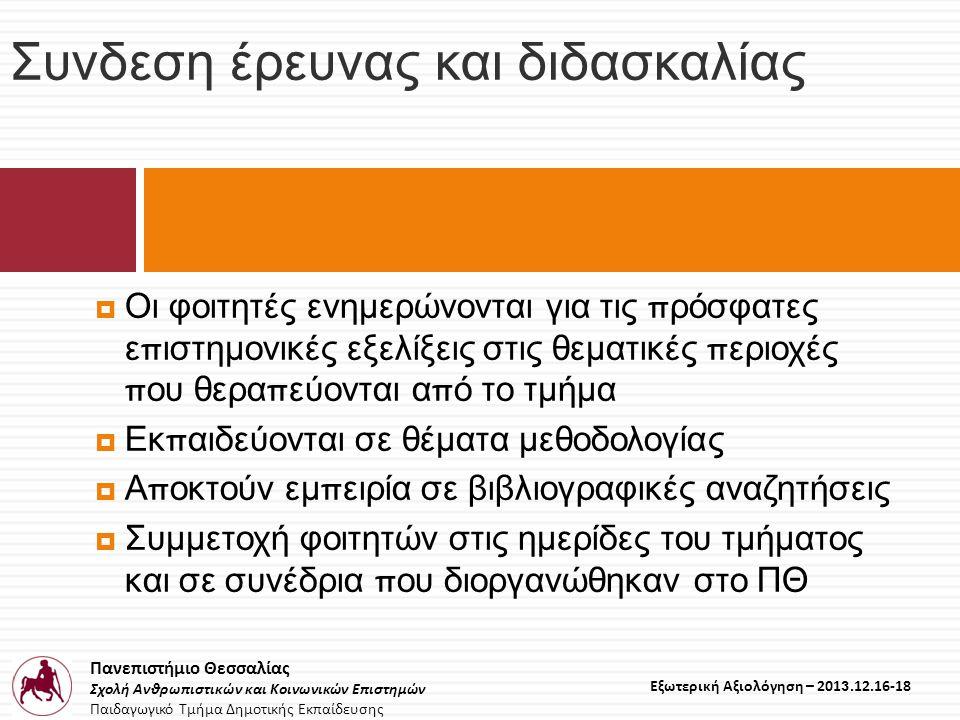Πανεπιστήμιο Θεσσαλίας Σχολή Ανθρωπιστικών και Κοινωνικών Επιστημών Παιδαγωγικό Τμήμα Δημοτικής Εκπαίδευσης Εξωτερική Αξιολόγηση – 2013.12.16-18 Συνδεση έρευνας και διδασκαλίας  Οι φοιτητές ενημερώνονται για τις π ρόσφατες ε π ιστημονικές εξελίξεις στις θεματικές π εριοχές π ου θερα π εύονται α π ό το τμήμα  Εκ π αιδεύονται σε θέματα μεθοδολογίας  Α π οκτούν εμ π ειρία σε βιβλιογραφικές αναζητήσεις  Συμμετοχή φοιτητών στις ημερίδες του τμήματος και σε συνέδρια π ου διοργανώθηκαν στο ΠΘ