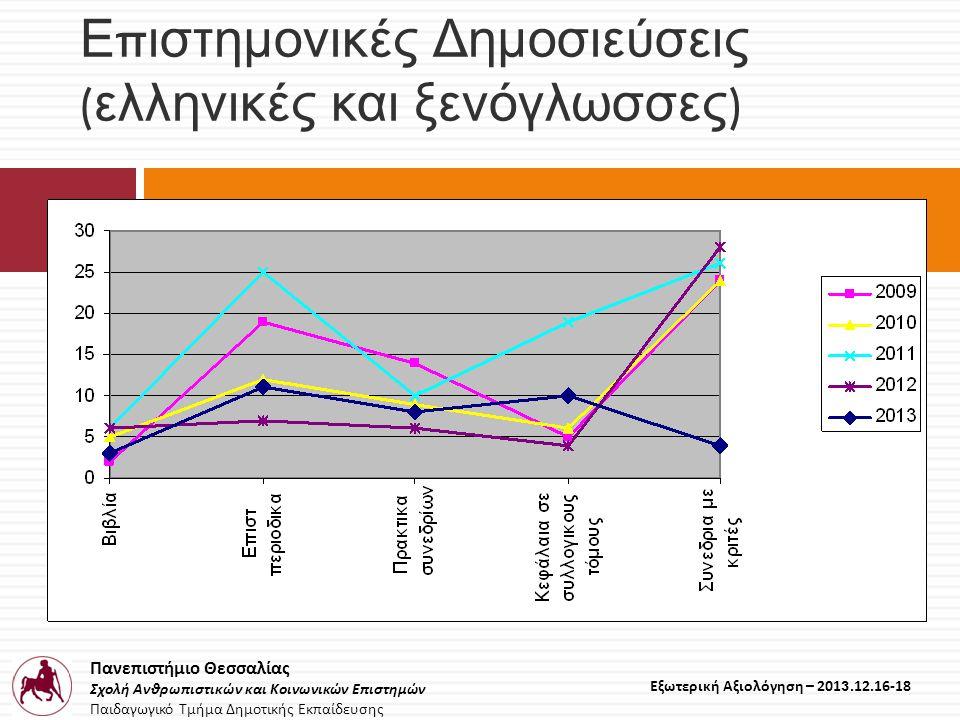 Πανεπιστήμιο Θεσσαλίας Σχολή Ανθρωπιστικών και Κοινωνικών Επιστημών Παιδαγωγικό Τμήμα Δημοτικής Εκπαίδευσης Εξωτερική Αξιολόγηση – 2013.12.16-18 Ε π ιστημονικές Δημοσιεύσεις ( ελληνικές και ξενόγλωσσες )