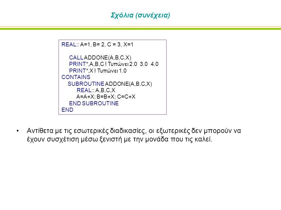 Σχόλια (συνέχεια) REAL:: A=1, B= 2, C = 3, X=1 CALL ADDONE(A,B,C,X) PRINT*,A,B,C ! Τυπώνει 2.0 3.0 4.0 PRINT*,X ! Τυπώνει 1.0 CONTAINS SUBROUTINE ADDO