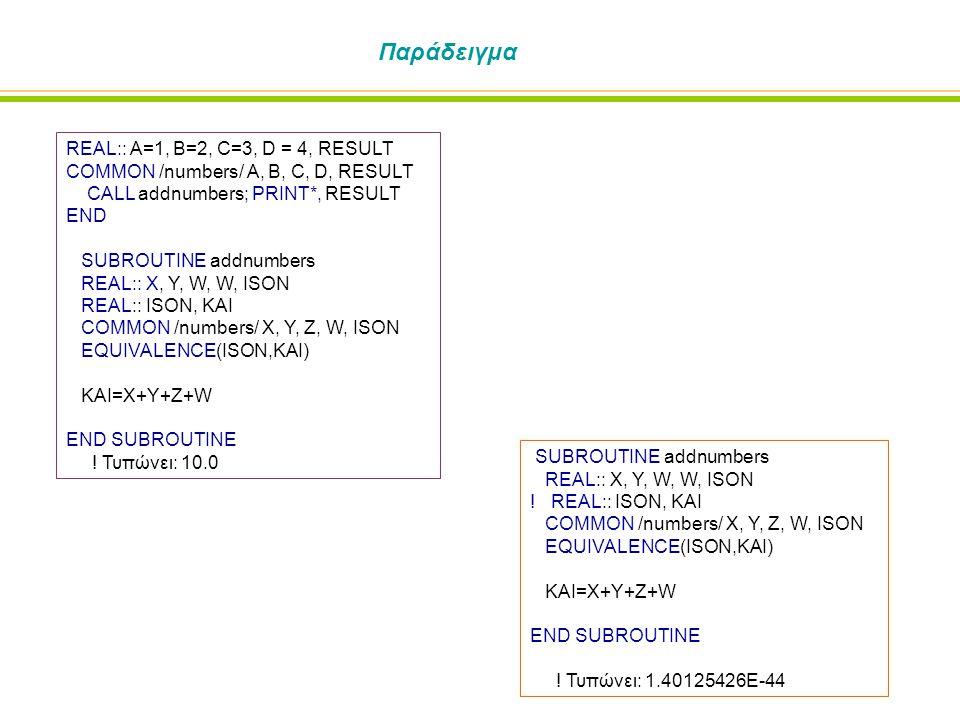 Παράδειγμα REAL:: A=1, B=2, C=3, D = 4, RESULT COMMON /numbers/ A, B, C, D, RESULT CALL addnumbers; PRINT*, RESULT END SUBROUTINE addnumbers REAL:: X, Y, W, W, ISON REAL:: ISON, KAI COMMON /numbers/ X, Y, Z, W, ISON EQUIVALENCE(ISON,KAI) KAI=X+Y+Z+W END SUBROUTINE .