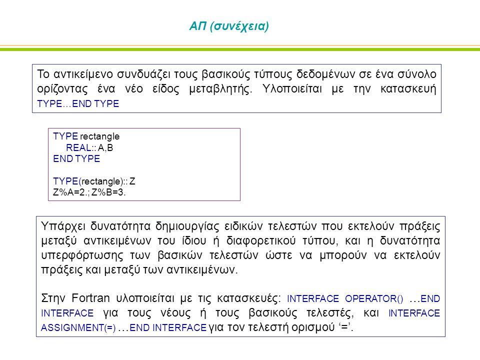 ΑΠ (συνέχεια) Το αντικείμενο συνδυάζει τους βασικούς τύπους δεδομένων σε ένα σύνολο ορίζοντας ένα νέο είδος μεταβλητής. Υλοποιείται με την κατασκευή T