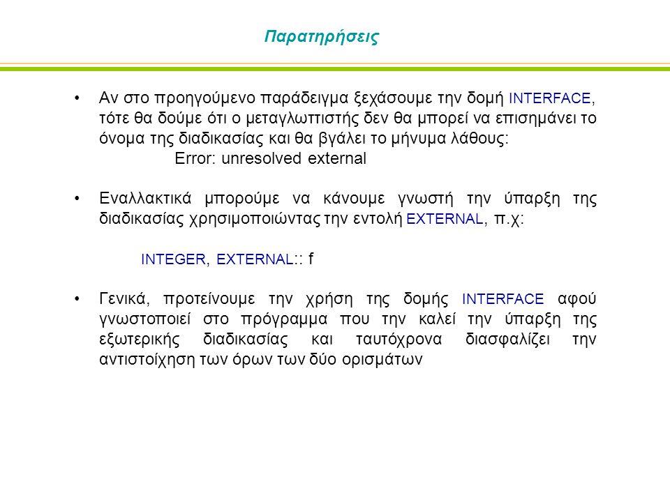 Παρατηρήσεις Αν στο προηγούμενο παράδειγμα ξεχάσουμε την δομή INTERFACE, τότε θα δούμε ότι ο μεταγλωττιστής δεν θα μπορεί να επισημάνει το όνομα της δ