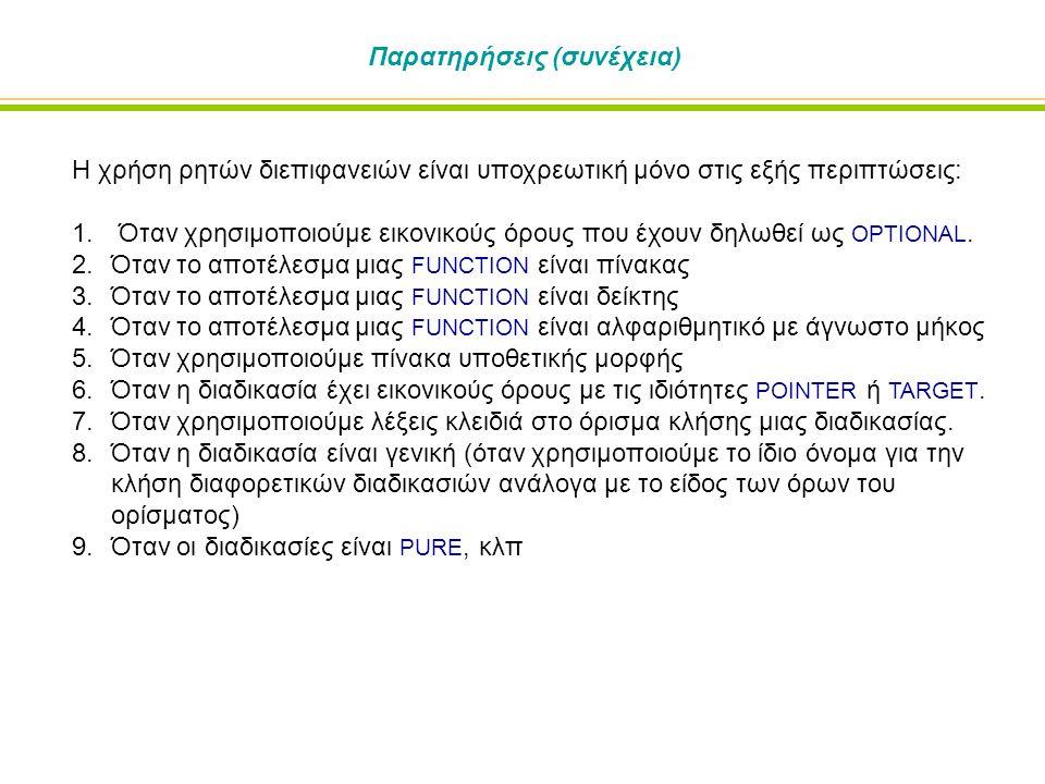 Παρατηρήσεις (συνέχεια) Η χρήση ρητών διεπιφανειών είναι υποχρεωτική μόνο στις εξής περιπτώσεις: 1. Όταν χρησιμοποιούμε εικονικούς όρους που έχουν δηλ
