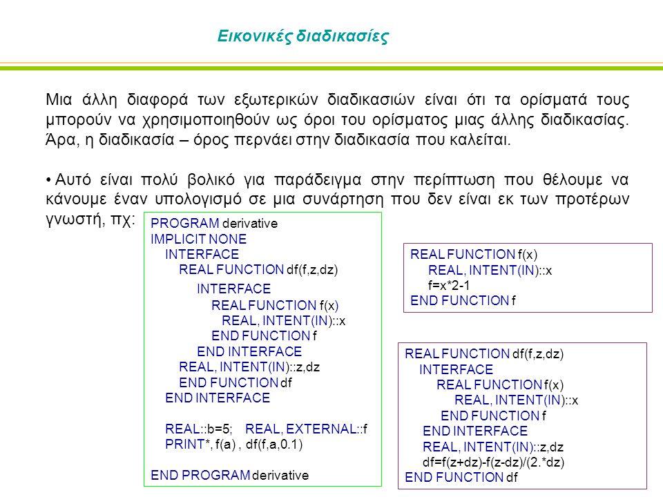 Εικονικές διαδικασίες Μια άλλη διαφορά των εξωτερικών διαδικασιών είναι ότι τα ορίσματά τους μπορούν να χρησιμοποιηθούν ως όροι του ορίσματος μιας άλλ
