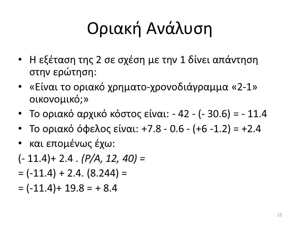 Οριακή Ανάλυση Η εξέταση της 2 σε σχέση με την 1 δίνει απάντηση στην ερώτηση: «Είναι το οριακό χρηματο-χρονοδιάγραμμα «2-1» οικονομικό;» Το οριακό αρχ