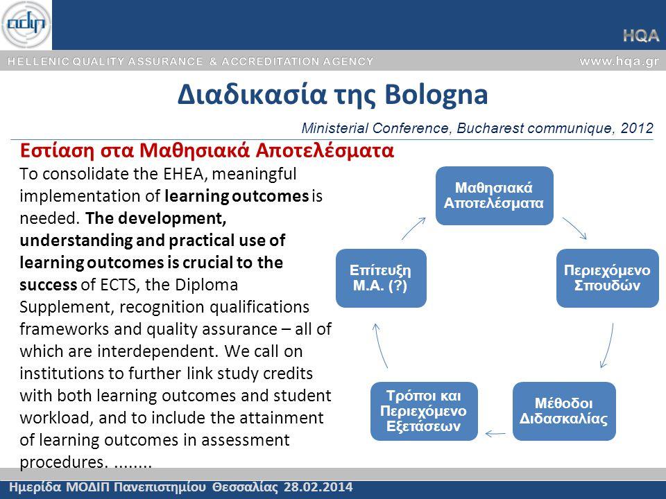Διαδικασία της Bologna Ημερίδα ΜΟΔΙΠ Πανεπιστημίου Θεσσαλίας 28.02.2014 To consolidate the EHEA, meaningful implementation of learning outcomes is nee