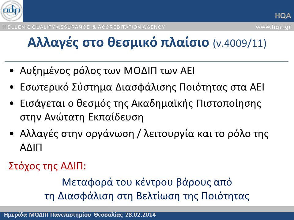 Η ΑΔΙΠ μετά το ν.4009/11 Ημερίδα ΜΟΔΙΠ Πανεπιστημίου Θεσσαλίας 28.02.2014 Οργάνωση συστήματος Ακαδημαϊκής Πιστοποίησης I.Προγραμμάτων Σπουδών II.Συστήματος Διασφάλισης Ποιότητας ΑΕΙ Γνωμοδοτήσεις  Πρόγραμμα Εθνικής Στρατηγικής για την Ανώτατη Εκπαίδευση  Προγραμματικές συμφωνίες κατόπιν «διαπραγμάτευσης» με το αντίστοιχο ΑΕΙ  Κατάρτιση αντικειμενικών κριτηρίων και δεικτών χρηματοδότησης των ΑΕΙ  Συγχωνεύσεις, κατατμήσεις, μετονομασίες, καταργήσεις ΑΕΙ / Σχολών / Τμημάτων  Κέντρων Αριστείας