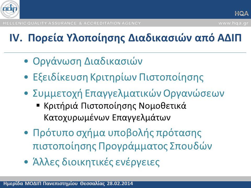 IV. Πορεία Υλοποίησης Διαδικασιών από ΑΔΙΠ Ημερίδα ΜΟΔΙΠ Πανεπιστημίου Θεσσαλίας 28.02.2014 Οργάνωση Διαδικασιών Εξειδίκευση Κριτηρίων Πιστοποίησης Συ