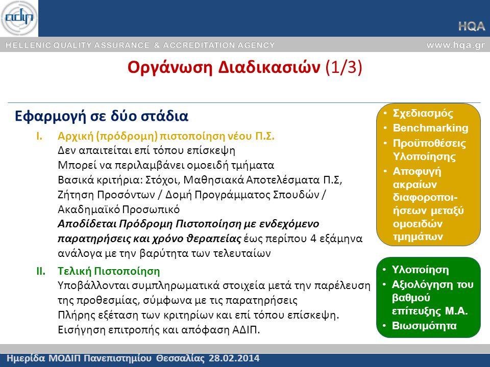 Οργάνωση Διαδικασιών (1/3) Ημερίδα ΜΟΔΙΠ Πανεπιστημίου Θεσσαλίας 28.02.2014 Εφαρμογή σε δύο στάδια I.Αρχική (πρόδρομη) πιστοποίηση νέου Π.Σ. Δεν απαιτ