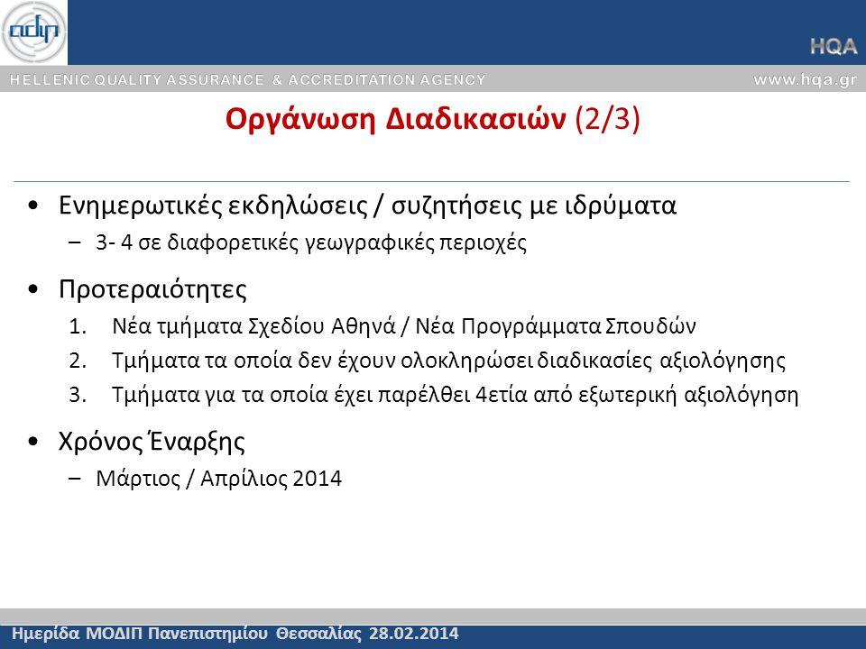 Οργάνωση Διαδικασιών (2/3) Ημερίδα ΜΟΔΙΠ Πανεπιστημίου Θεσσαλίας 28.02.2014 Ενημερωτικές εκδηλώσεις / συζητήσεις με ιδρύματα –3- 4 σε διαφορετικές γεω