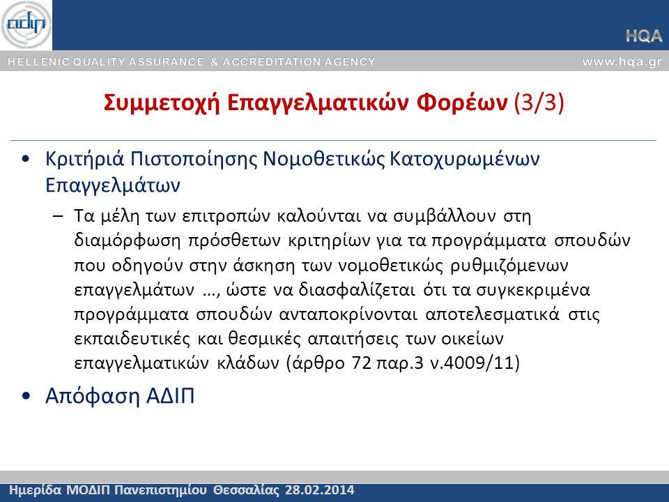 Συμμετοχή Επαγγελματικών Φορέων (3/3) Ημερίδα ΜΟΔΙΠ Πανεπιστημίου Θεσσαλίας 28.02.2014 Κριτήριά Πιστοποίησης Νομοθετικώς Κατοχυρωμένων Επαγγελμάτων –Τ