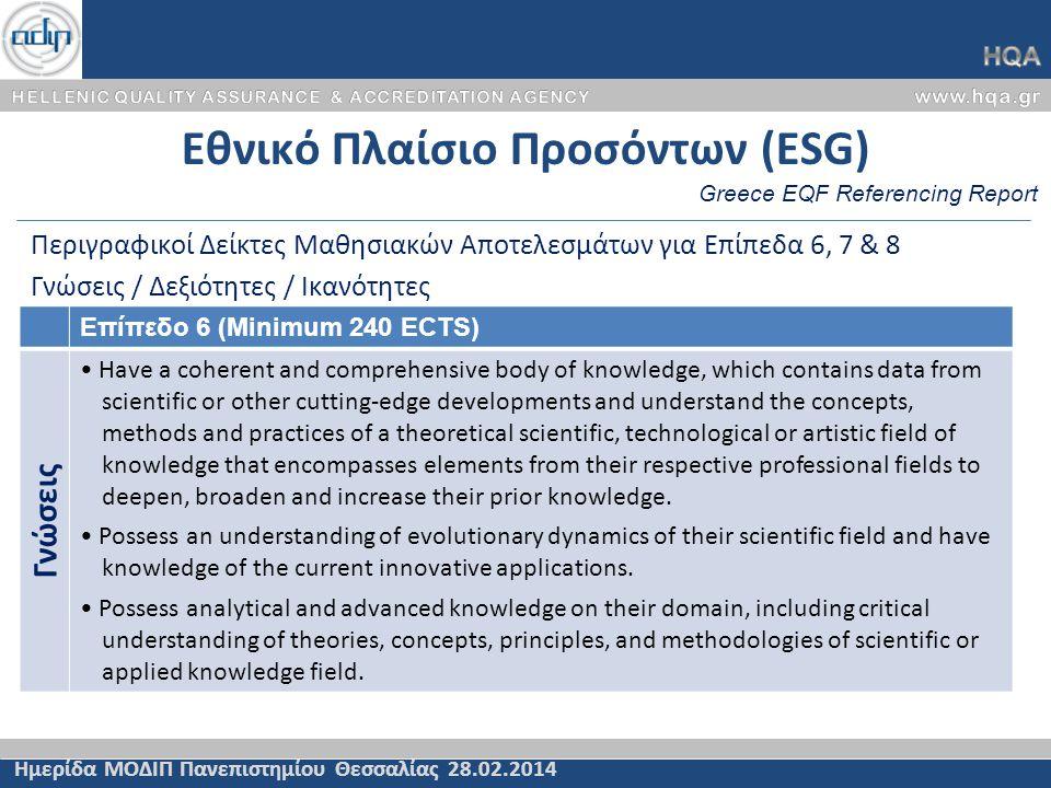 Εθνικό Πλαίσιο Προσόντων (ESG) Ημερίδα ΜΟΔΙΠ Πανεπιστημίου Θεσσαλίας 28.02.2014 Περιγραφικοί Δείκτες Μαθησιακών Αποτελεσμάτων για Επίπεδα 6, 7 & 8 Γνώ