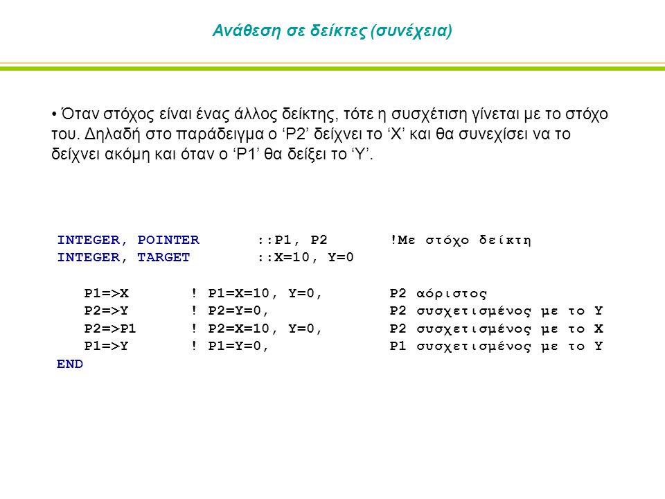 INTEGER, POINTER::P1, P2!Με στόχο δείκτη INTEGER, TARGET ::X=10, Y=0 P1=>X.
