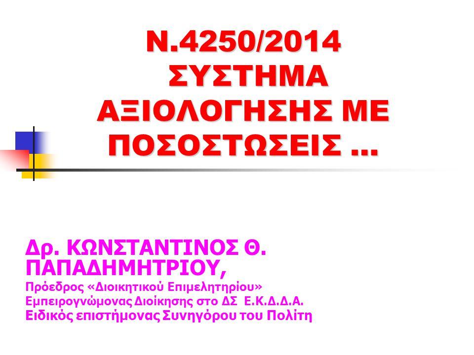 Ν.4250/2014 ΣΥΣΤΗΜΑ ΑΞΙΟΛΟΓΗΣΗΣ ΜΕ ΠΟΣΟΣΤΩΣΕΙΣ … Δρ.