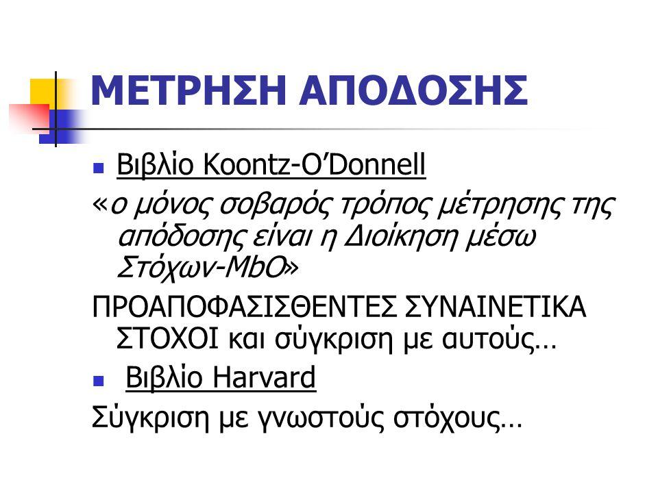 ΜΕΤΡΗΣΗ ΑΠΟΔΟΣΗΣ Βιβλίο Koontz-O'Donnell «ο μόνος σοβαρός τρόπος μέτρησης της απόδοσης είναι η Διοίκηση μέσω Στόχων-MbO» ΠΡΟΑΠΟΦΑΣΙΣΘΕΝΤΕΣ ΣΥΝΑΙΝΕΤΙΚΑ ΣΤΟΧΟΙ και σύγκριση με αυτούς… Βιβλίο Harvard Σύγκριση με γνωστούς στόχους…