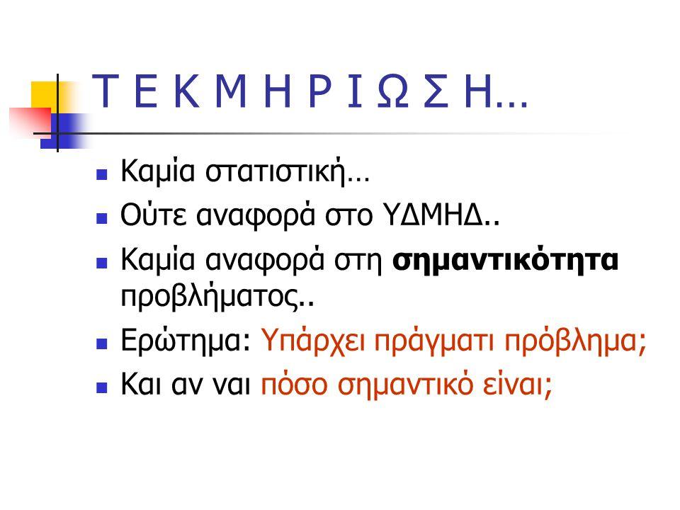 Τ Ε Κ Μ Η Ρ Ι Ω Σ Η… Καμία στατιστική… Ούτε αναφορά στο ΥΔΜΗΔ..