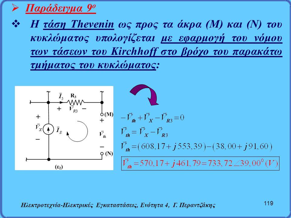 Ηλεκτροτεχνία-Ηλεκτρικές Εγκαταστάσεις, Ενότητα 4, Γ. Περαντζάκης 119  Παράδειγμα 9 ο  Η τάση Thevenin ως προς τα άκρα (Μ) και (Ν) του κυκλώματος υπ