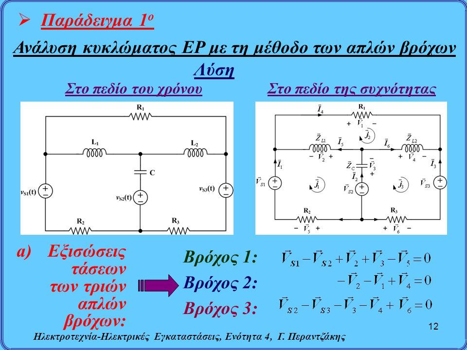 Ηλεκτροτεχνία-Ηλεκτρικές Εγκαταστάσεις, Ενότητα 4, Γ. Περαντζάκης 12  Παράδειγμα 1 ο Ανάλυση κυκλώματος ΕΡ με τη μέθοδο των απλών βρόχων Στο πεδίο το