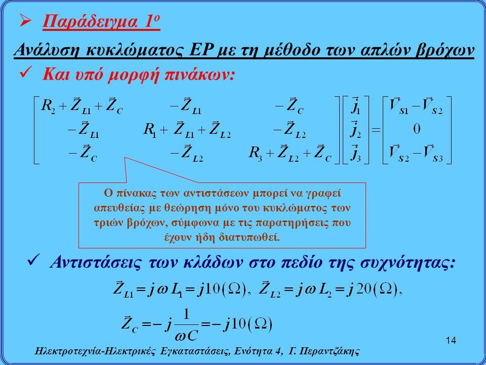 Ηλεκτροτεχνία-Ηλεκτρικές Εγκαταστάσεις, Ενότητα 4, Γ. Περαντζάκης 14  Παράδειγμα 1 ο Ανάλυση κυκλώματος ΕΡ με τη μέθοδο των απλών βρόχων Και υπό μορφ