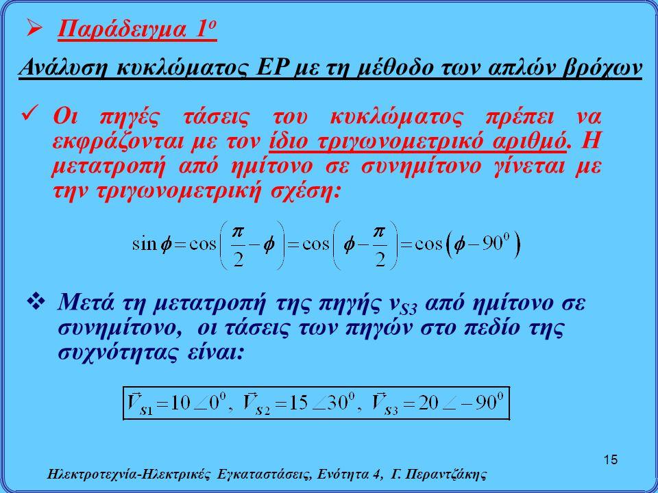 Ηλεκτροτεχνία-Ηλεκτρικές Εγκαταστάσεις, Ενότητα 4, Γ. Περαντζάκης 15  Παράδειγμα 1 ο Ανάλυση κυκλώματος ΕΡ με τη μέθοδο των απλών βρόχων Οι πηγές τάσ
