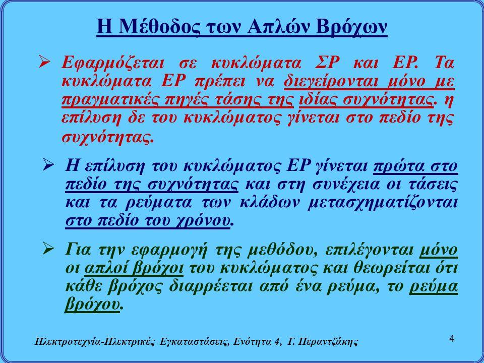 Η Μέθοδος των Απλών Βρόχων Ηλεκτροτεχνία-Ηλεκτρικές Εγκαταστάσεις, Ενότητα 4, Γ. Περαντζάκης 4  Εφαρμόζεται σε κυκλώματα ΣΡ και ΕΡ. Τα κυκλώματα ΕΡ π