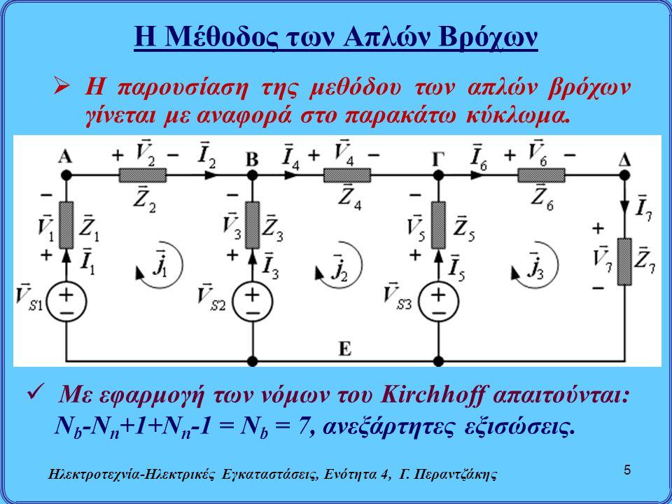 Η Μέθοδος των Απλών Βρόχων Ηλεκτροτεχνία-Ηλεκτρικές Εγκαταστάσεις, Ενότητα 4, Γ. Περαντζάκης 5  Η παρουσίαση της μεθόδου των απλών βρόχων γίνεται με
