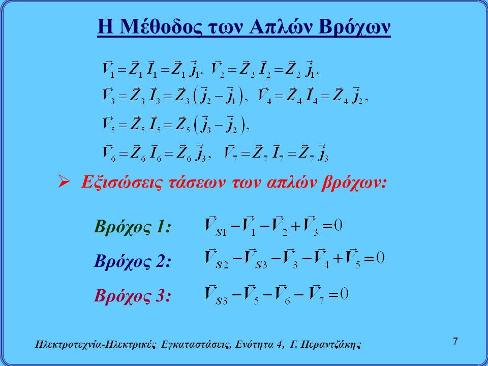 Η Μέθοδος των Απλών Βρόχων Ηλεκτροτεχνία-Ηλεκτρικές Εγκαταστάσεις, Ενότητα 4, Γ. Περαντζάκης 7  Εξισώσεις τάσεων των απλών βρόχων: Βρόχος 1: Βρόχος 2
