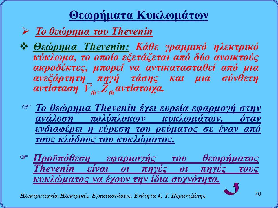 Θεωρήματα Κυκλωμάτων Ηλεκτροτεχνία-Ηλεκτρικές Εγκαταστάσεις, Ενότητα 4, Γ. Περαντζάκης 70  Το θεώρημα του Thevenin  Θεώρημα Thevenin: Κάθε γραμμικό