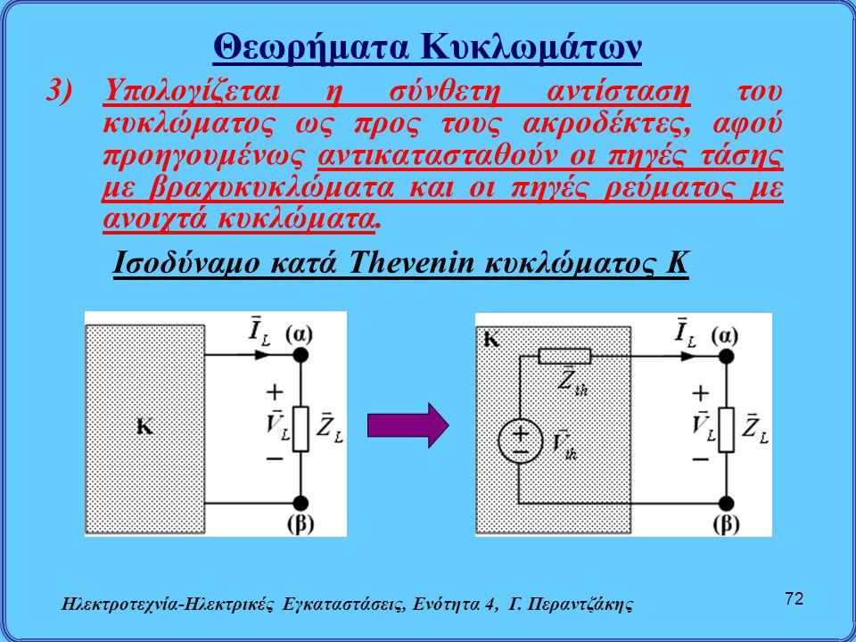 Θεωρήματα Κυκλωμάτων Ηλεκτροτεχνία-Ηλεκτρικές Εγκαταστάσεις, Ενότητα 4, Γ. Περαντζάκης 72 3)Υπολογίζεται η σύνθετη αντίσταση του κυκλώματος ως προς το