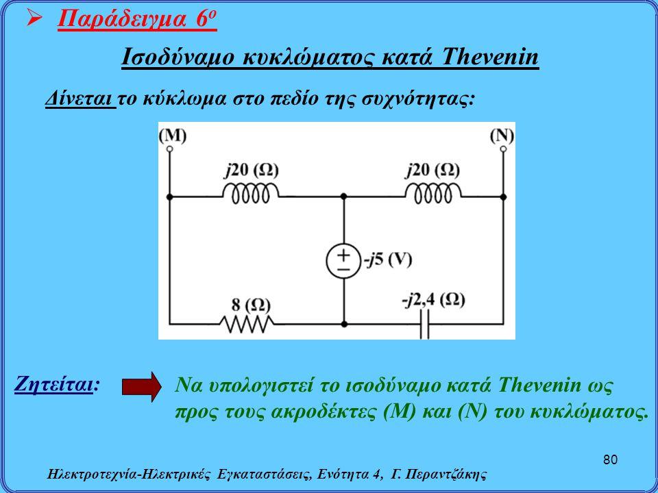 Ηλεκτροτεχνία-Ηλεκτρικές Εγκαταστάσεις, Ενότητα 4, Γ. Περαντζάκης 80  Παράδειγμα 6 ο Ζητείται: Να υπολογιστεί το ισοδύναμο κατά Thevenin ως προς τους