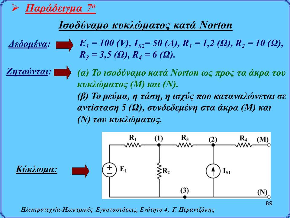 Ηλεκτροτεχνία-Ηλεκτρικές Εγκαταστάσεις, Ενότητα 4, Γ. Περαντζάκης 89  Παράδειγμα 7 ο Δεδομένα: Ζητούνται: (α) Το ισοδύναμο κατά Norton ως προς τα άκρ