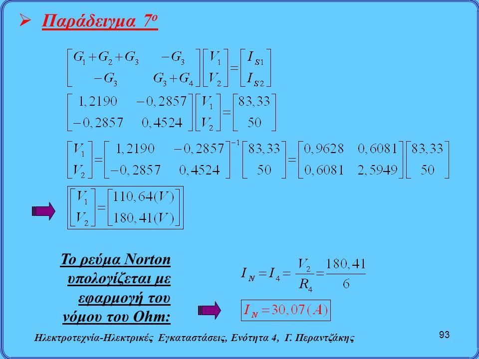 Ηλεκτροτεχνία-Ηλεκτρικές Εγκαταστάσεις, Ενότητα 4, Γ. Περαντζάκης 93  Παράδειγμα 7 ο Το ρεύμα Norton υπολογίζεται με εφαρμογή του νόμου του Ohm: