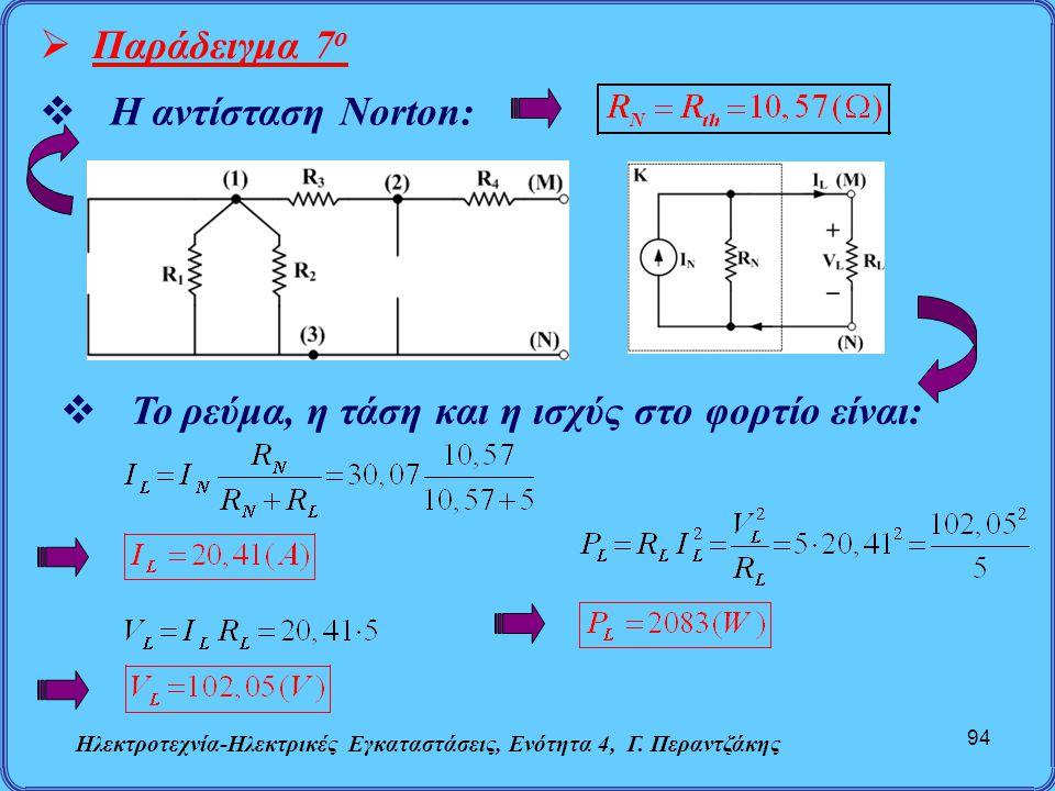 Ηλεκτροτεχνία-Ηλεκτρικές Εγκαταστάσεις, Ενότητα 4, Γ. Περαντζάκης 94  Παράδειγμα 7 ο  Η αντίσταση Norton:  Το ρεύμα, η τάση και η ισχύς στο φορτίο
