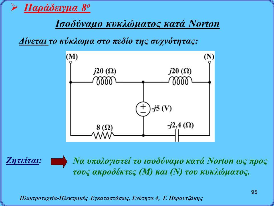 Ηλεκτροτεχνία-Ηλεκτρικές Εγκαταστάσεις, Ενότητα 4, Γ. Περαντζάκης 95  Παράδειγμα 8 ο Ζητείται: Να υπολογιστεί το ισοδύναμο κατά Norton ως προς τους α
