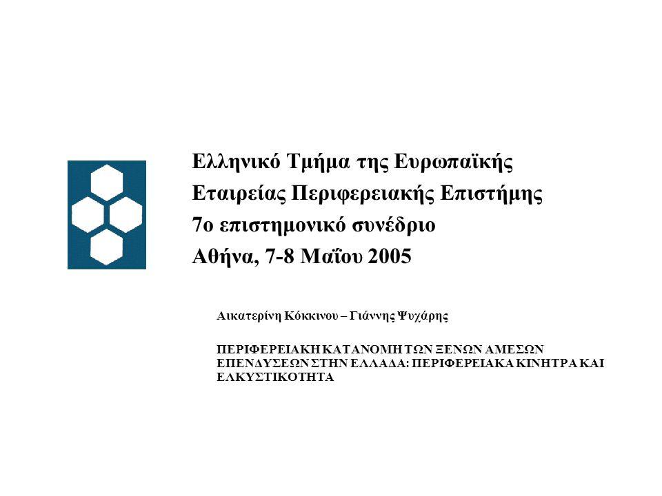 Ελληνικό Τμήμα της Ευρωπαϊκής Εταιρείας Περιφερειακής Επιστήμης 7ο επιστημονικό συνέδριο Αθήνα, 7-8 Μαΐου 2005 Αικατερίνη Κόκκινου – Γιάννης Ψυχάρης ΠΕΡΙΦΕΡΕΙΑΚΗ ΚΑΤΑΝΟΜΗ ΤΩΝ ΞΕΝΩΝ ΑΜΕΣΩΝ ΕΠΕΝΔΥΣΕΩΝ ΣΤΗΝ ΕΛΛΑΔΑ: ΠΕΡΙΦΕΡΕΙΑΚΑ ΚΙΝΗΤΡΑ ΚΑΙ ΕΛΚΥΣΤΙΚΟΤΗΤΑ