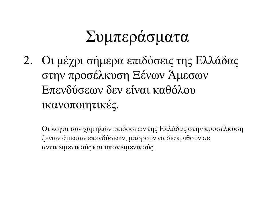 Συμπεράσματα 2.Οι μέχρι σήμερα επιδόσεις της Ελλάδας στην προσέλκυση Ξένων Άμεσων Επενδύσεων δεν είναι καθόλου ικανοποιητικές. Οι λόγοι των χαμηλών επ