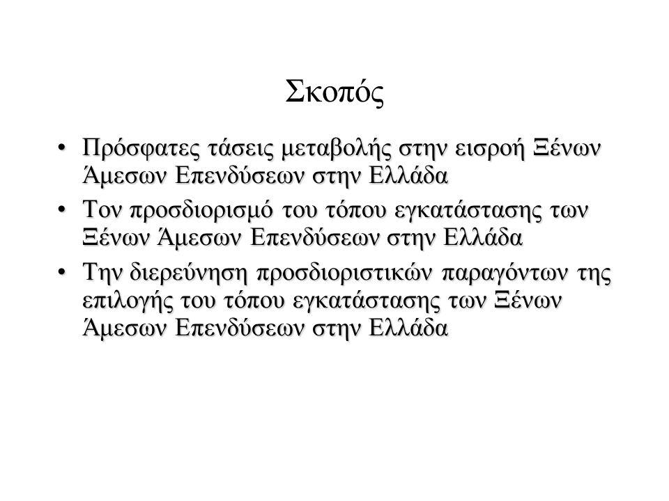 Σκοπός Πρόσφατες τάσεις μεταβολής στην εισροή Ξένων Άμεσων Επενδύσεων στην ΕλλάδαΠρόσφατες τάσεις μεταβολής στην εισροή Ξένων Άμεσων Επενδύσεων στην Ελλάδα Τον προσδιορισμό του τόπου εγκατάστασης των Ξένων Άμεσων Επενδύσεων στην ΕλλάδαΤον προσδιορισμό του τόπου εγκατάστασης των Ξένων Άμεσων Επενδύσεων στην Ελλάδα Την διερεύνηση προσδιοριστικών παραγόντων της επιλογής του τόπου εγκατάστασης των Ξένων Άμεσων Επενδύσεων στην ΕλλάδαΤην διερεύνηση προσδιοριστικών παραγόντων της επιλογής του τόπου εγκατάστασης των Ξένων Άμεσων Επενδύσεων στην Ελλάδα