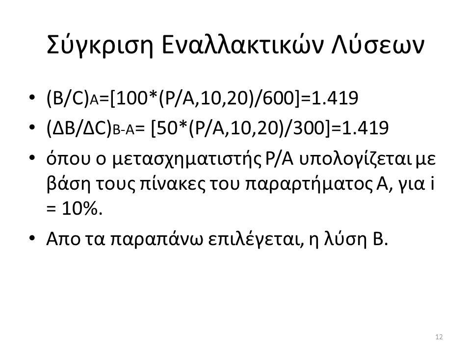 Σύγκριση Εναλλακτικών Λύσεων (B/C) A =[100*(P/A,10,20)/600]=1.419 (ΔΒ/ΔC) B-A = [50*(P/A,10,20)/300]=1.419 όπου ο μετασχηματιστής Ρ/Α υπολογίζεται με βάση τους πίνακες του παραρτήματος Α, για i = 10%.