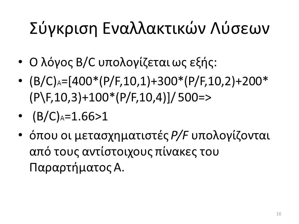 Σύγκριση Εναλλακτικών Λύσεων Ο λόγος Β/C υπολογίζεται ως εξής: (B/C) A =[400*(P/F,10,1)+300*(P/F,10,2)+200* (P\F,10,3)+100*(P/F,10,4)]/ 500=> (B/C) A =1.66>1 όπου οι μετασχηματιστές Ρ/F υπολογίζονται από τους αντίστοιχους πίνακες του Παραρτήματος Α.