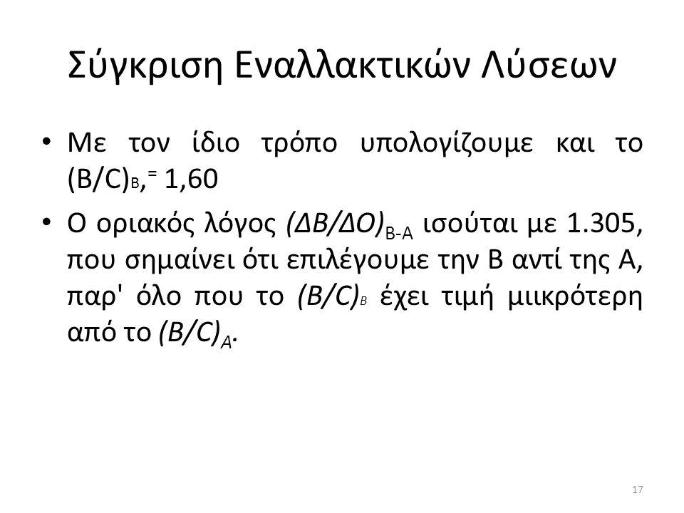 Σύγκριση Εναλλακτικών Λύσεων Με τον ίδιο τρόπο υπολογίζουμε και το (Β/C) B, = 1,60 Ο οριακός λόγος (ΔΒ/ΔΟ) Β-A ισούται με 1.305, που σημαίνει ότι επιλέγουμε την Β αντί της Α, παρ όλο που το (Β/C) Β έχει τιμή μιικρότερη από το (Β/C) Α.