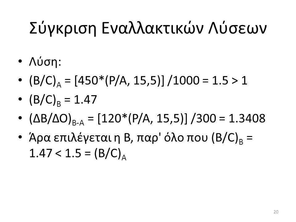 Σύγκριση Εναλλακτικών Λύσεων Λύση: (Β/C) Α = [450*(Ρ/Α, 15,5)] /1000 = 1.5 > 1 (Β/C) B = 1.47 (ΔΒ/ΔΟ) B-A = [120*(Ρ/Α, 15,5)] /300 = 1.3408 Άρα επιλέγεται η Β, παρ όλο που (Β/C) B = 1.47 < 1.5 = (Β/C) Α 20