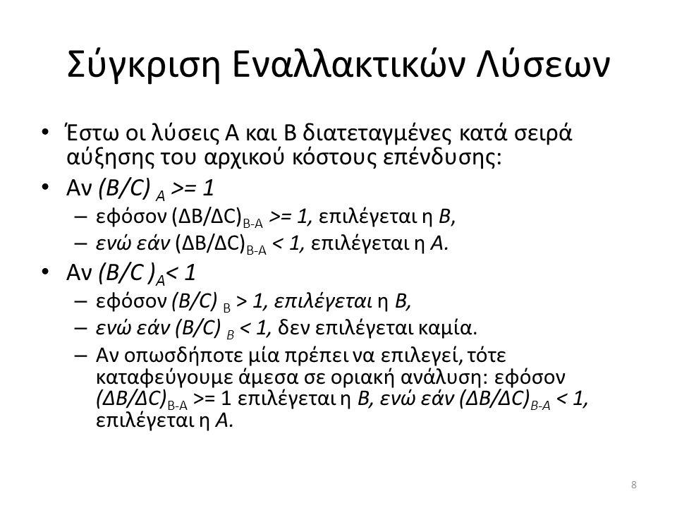 Σύγκριση Εναλλακτικών Λύσεων Έστω οι λύσεις Α και Β διατεταγμένες κατά σειρά αύξησης του αρχικού κόστους επένδυσης: Αν (Β/C) Α >= 1 – εφόσον (ΔΒ/ΔC) B-A >= 1, επιλέγεται η Β, – ενώ εάν (ΔΒ/ΔC) B-A < 1, επιλέγεται η Α.