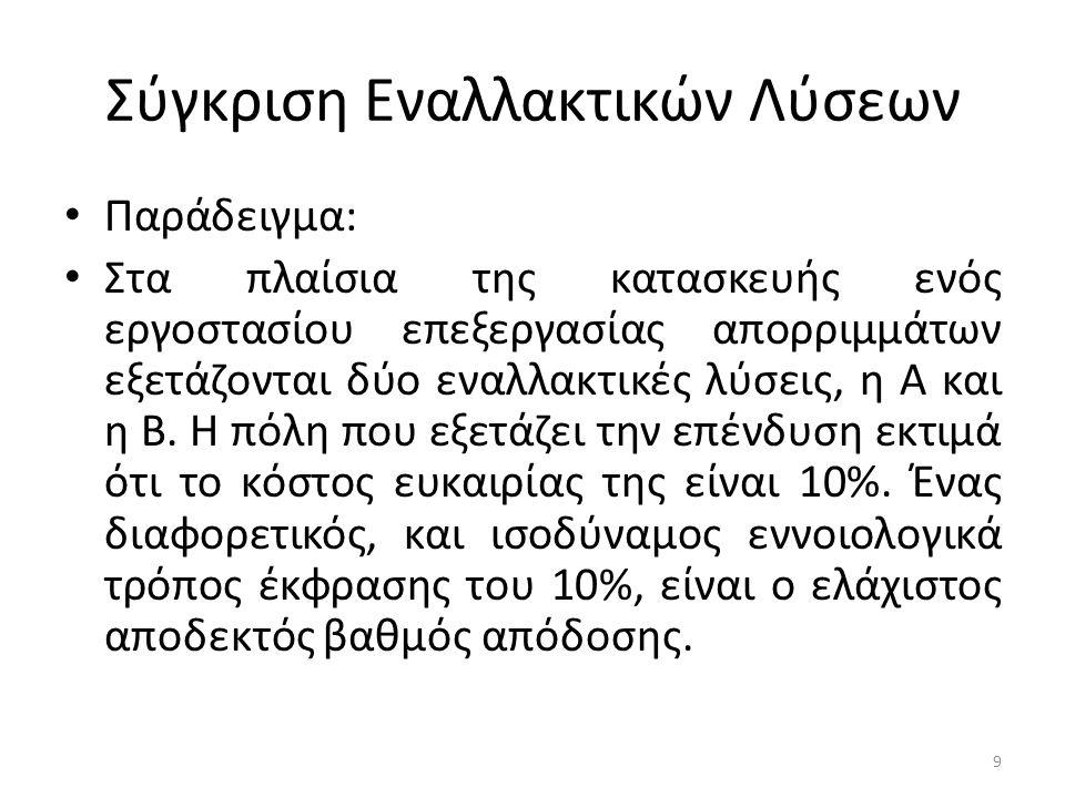 Νόμος του Δέλτα Έτσι έχουμε: (ΔΒ/ΔC) Β-Α = 60.000(P/A,10,20) +500.000*(P/F,10,20) /500.000 =1.17 >1 Το αποτέλεσμα καθιστά την εναλλακτική Β καλύτερη από την Α.
