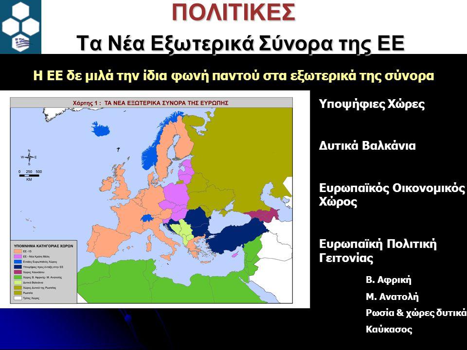 ΠΟΛΙΤΙΚΕΣ Τα Νέα Εξωτερικά Σύνορα της ΕΕ Υποψήφιες Χώρες Δυτικά Βαλκάνια Ευρωπαϊκός Οικονομικός Χώρος Ευρωπαϊκή Πολιτική Γειτονίας Β.