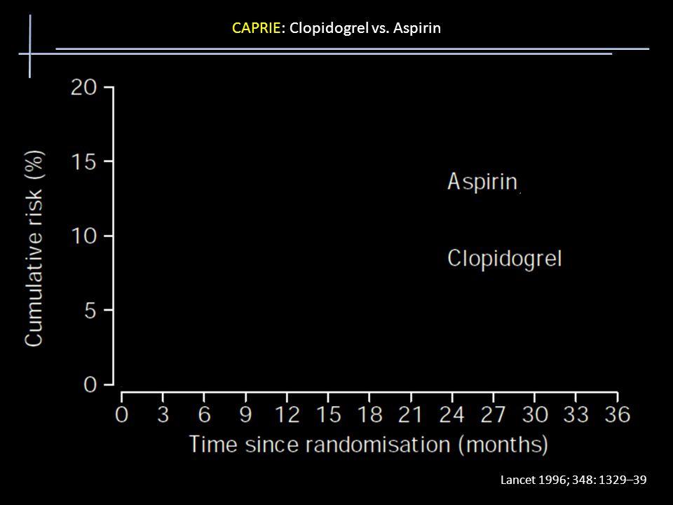 CAPRIE: Clopidogrel vs. Aspirin Lancet 1996; 348: 1329–39