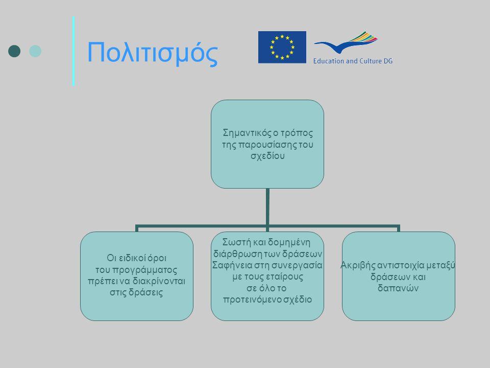 Πολιτισμός Σημαντικός ο τρόπος της παρουσίασης του σχεδίου Οι ειδικοί όροι του προγράμματος πρέπει να διακρίνονται στις δράσεις Σωστή και δομημένη διάρθρωση των δράσεων Σαφήνεια στη συνεργασία με τους εταίρους σε όλο το προτεινόμενο σχέδιο Ακριβής αντιστοιχία μεταξύ δράσεων και δαπανών