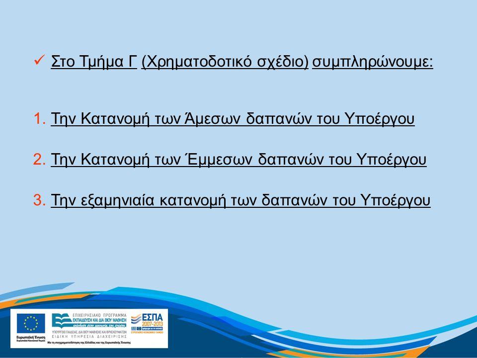 Στο Τμήμα Γ (Χρηματοδοτικό σχέδιο) συμπληρώνουμε: 1.Την Κατανομή των Άμεσων δαπανών του Υποέργου 2.Την Κατανομή των Έμμεσων δαπανών του Υποέργου 3.Την εξαμηνιαία κατανομή των δαπανών του Υποέργου