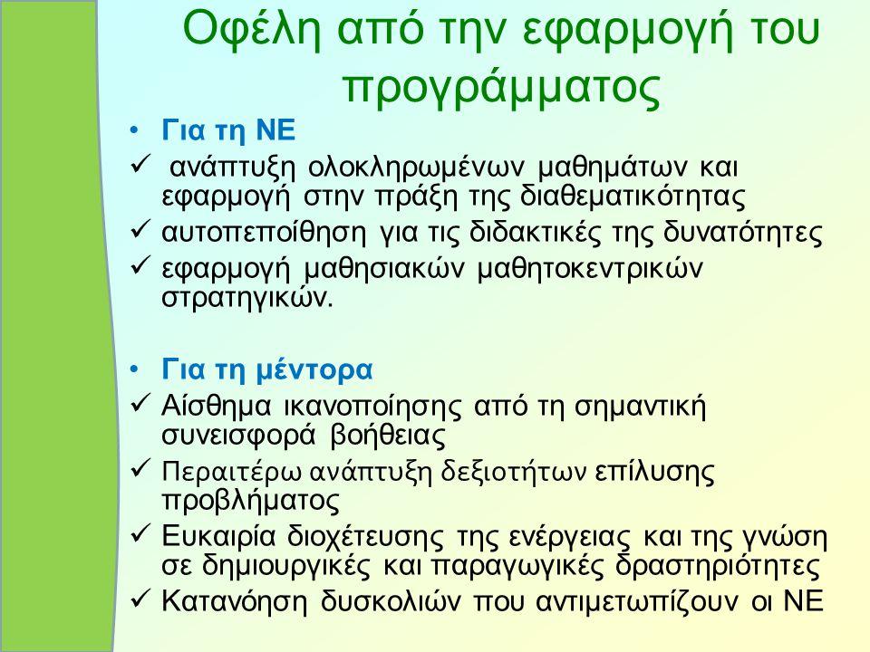 Οφέλη από την εφαρμογή του προγράμματος Για τη ΝΕ ανάπτυξη ολοκληρωμένων μαθημάτων και εφαρμογή στην πράξη της διαθεματικότητας αυτοπεποίθηση για τις
