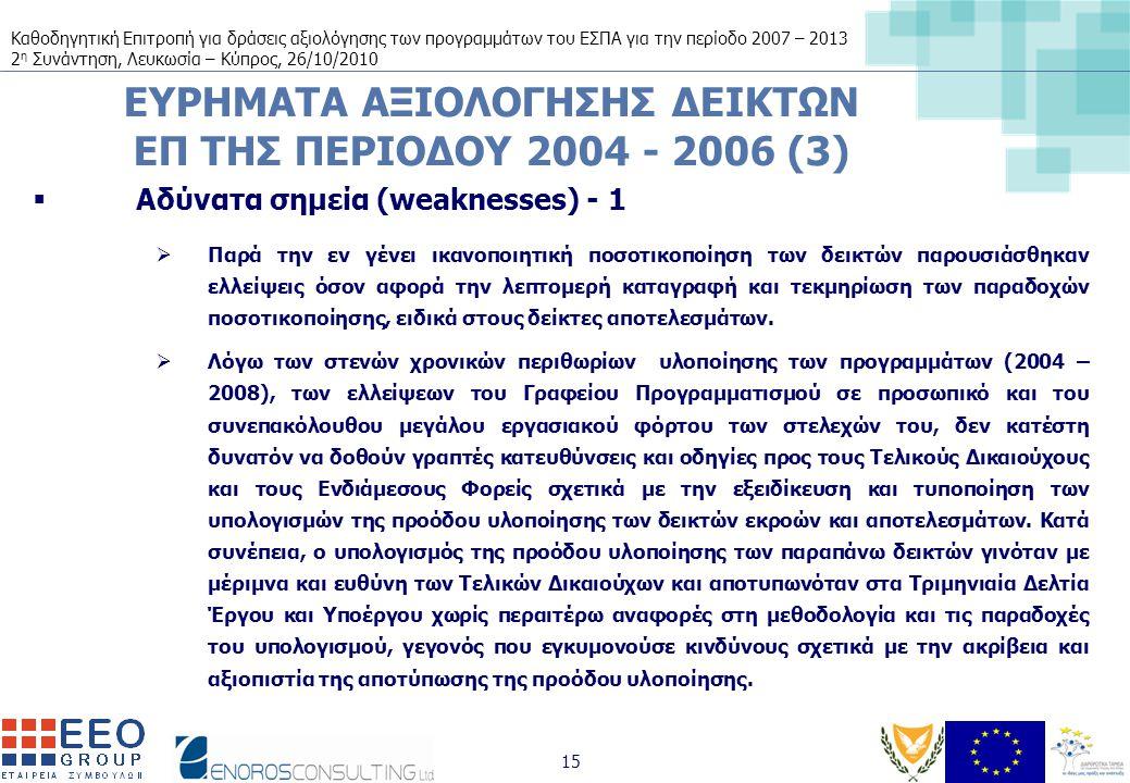 Καθοδηγητική Επιτροπή για δράσεις αξιολόγησης των προγραμμάτων του ΕΣΠΑ για την περίοδο 2007 – 2013 2 η Συνάντηση, Λευκωσία – Κύπρος, 26/10/2010 15 ΕΥΡΗΜΑΤΑ ΑΞΙΟΛΟΓΗΣΗΣ ΔΕΙΚΤΩΝ ΕΠ ΤΗΣ ΠΕΡΙΟΔΟΥ 2004 - 2006 (3)  Αδύνατα σημεία (weaknesses) - 1  Παρά την εν γένει ικανοποιητική ποσοτικοποίηση των δεικτών παρουσιάσθηκαν ελλείψεις όσον αφορά την λεπτομερή καταγραφή και τεκμηρίωση των παραδοχών ποσοτικοποίησης, ειδικά στους δείκτες αποτελεσμάτων.